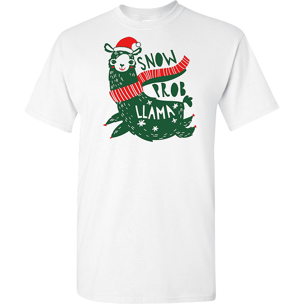Nav Item for Adult Llama Christmas T-Shirt Image #1