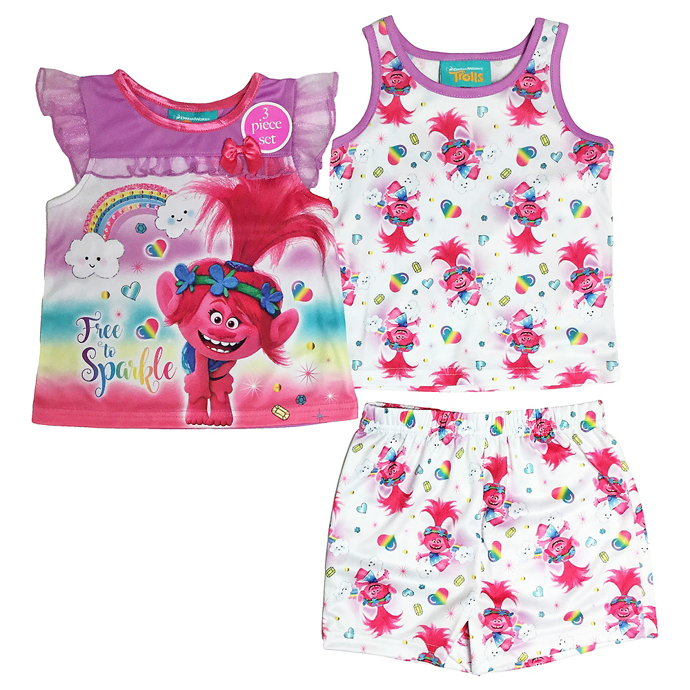 Toddler Girls Trolls Pajama Set 3pc Image #1
