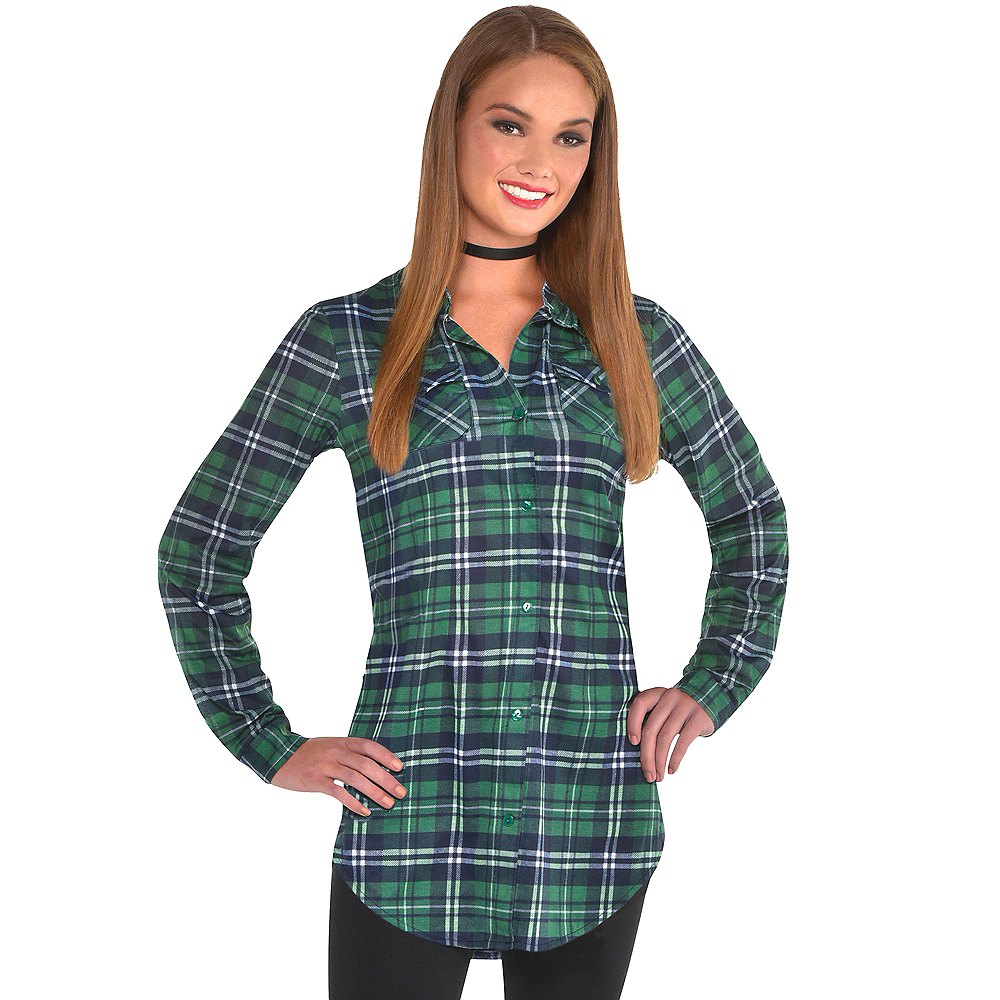Womens Green Plaid Long-Sleeve Shirt Image #1