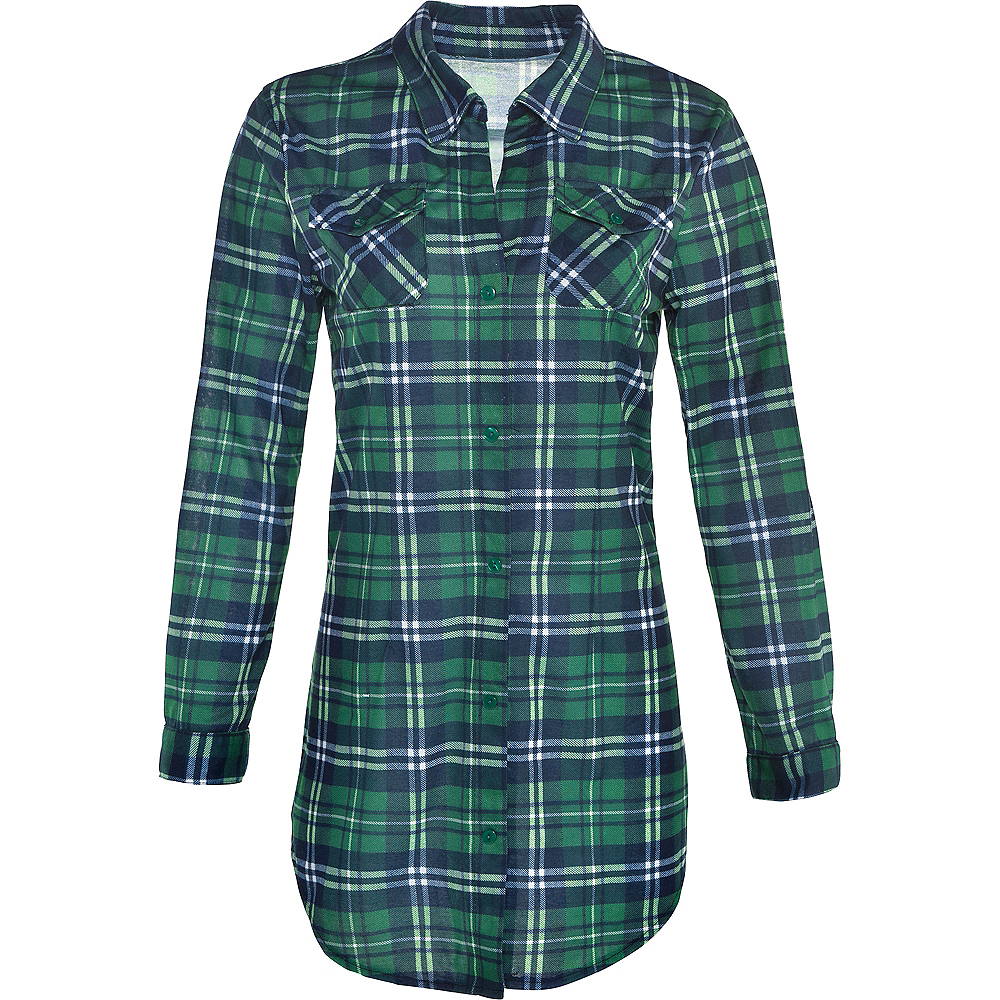 Womens Green Plaid Long-Sleeve Shirt Image #2