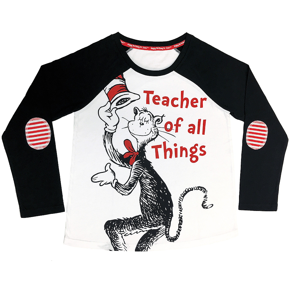 Adult Teacher Cat In The Hat Long Sleeve Shirt Dr Seuss Party City