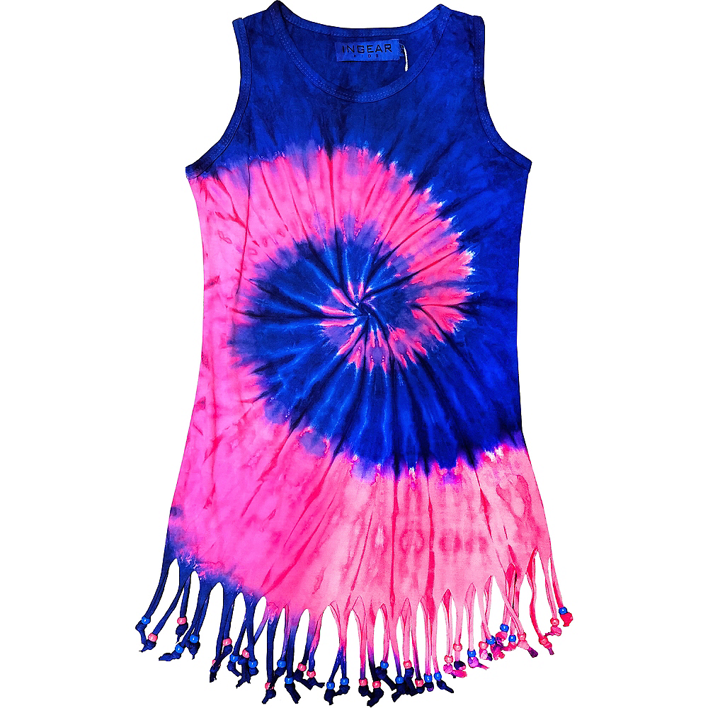 Child Blue & Pink Tie Dye Fringe Dress Image #1