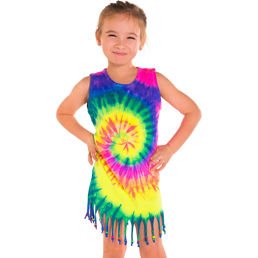 Child Rainbow Tie Dye Fringe Dress Image #1