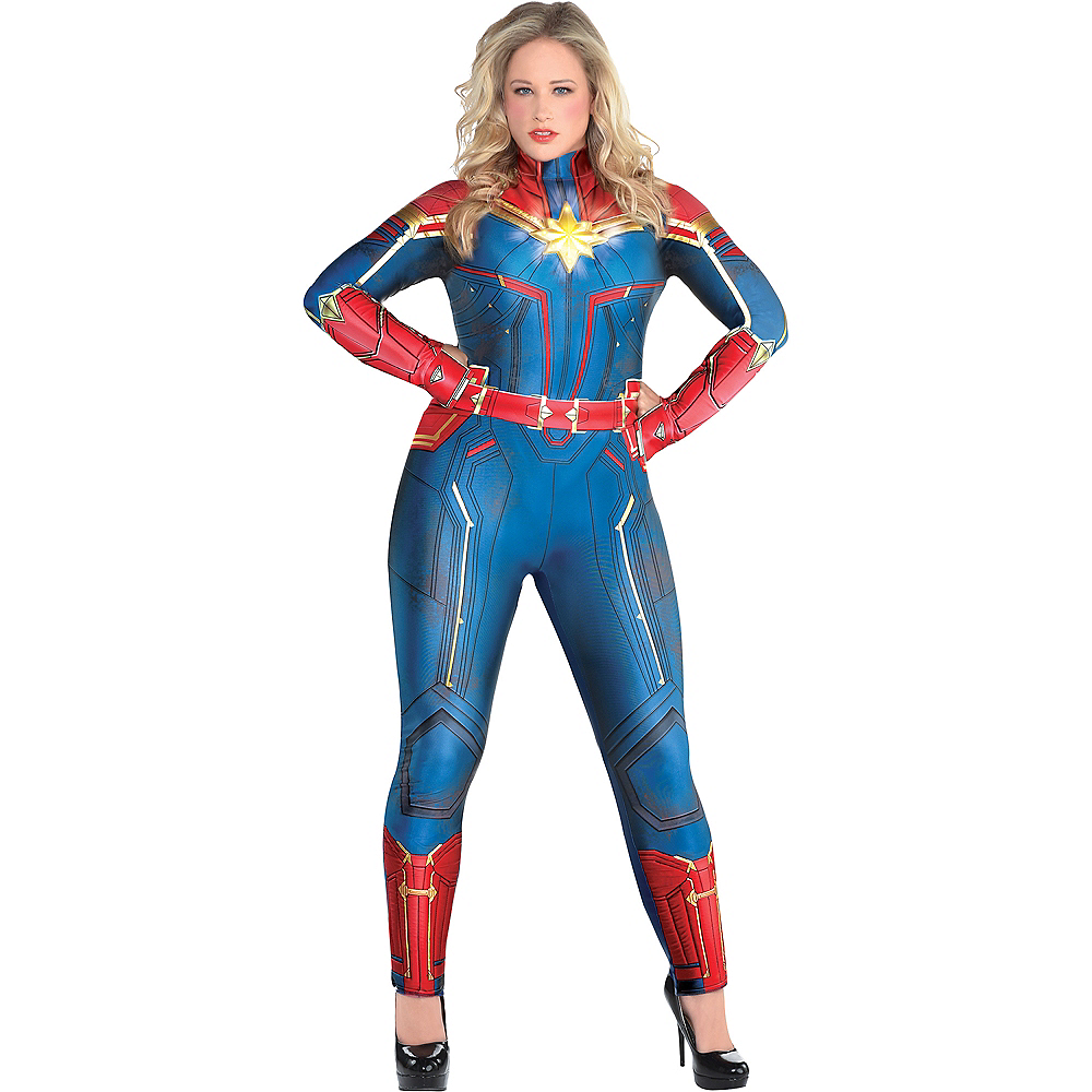Captain Marvel Plus Size Jumpsuit Halloween Costume Party City And she certainly has the look and the costume to compete with other heavy hitters. adult light up captain marvel costume plus size captain marvel
