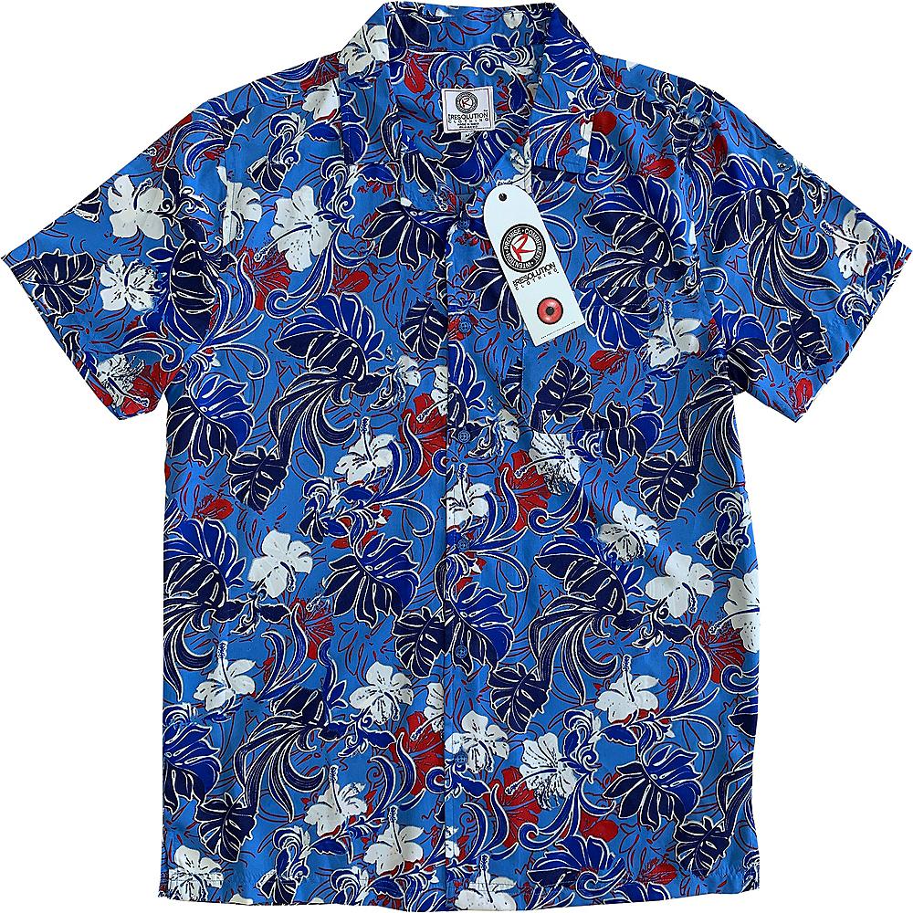 Red, White & Blue Hibiscus Flower Hawaiian Shirt Image #1