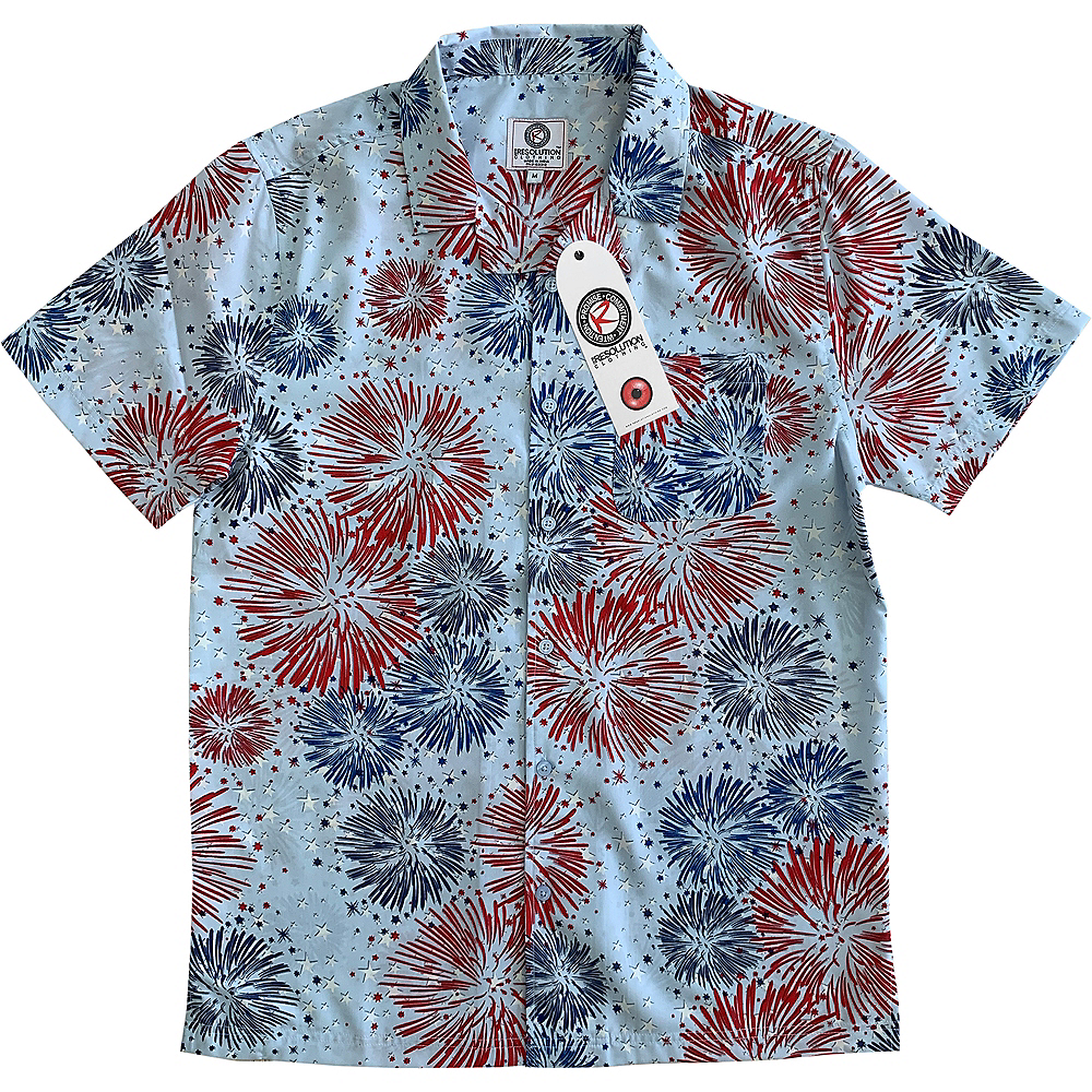 Patriotic Red, White, and Blue Fireworks Hawaiian Shirt  Image #1