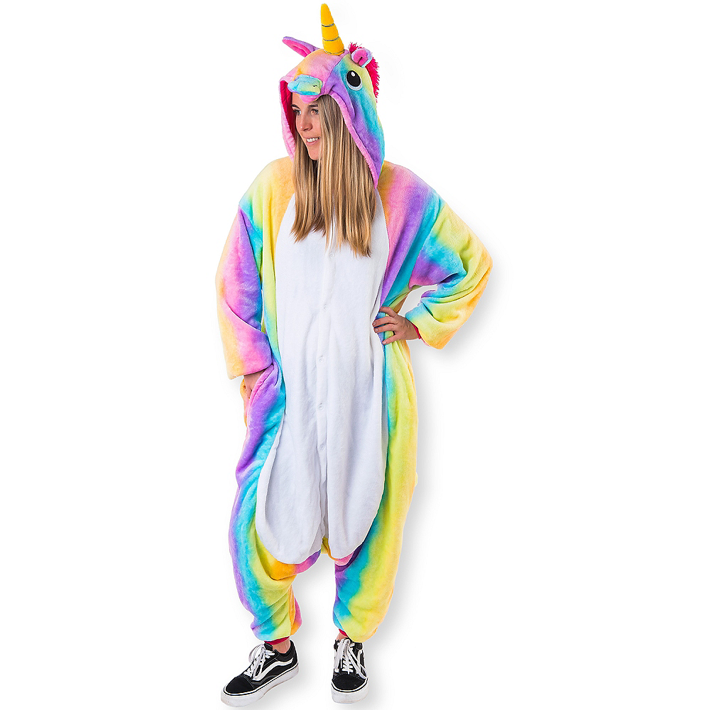 Adult Zipster Rainbow Unicorn One Piece Costume Image #1