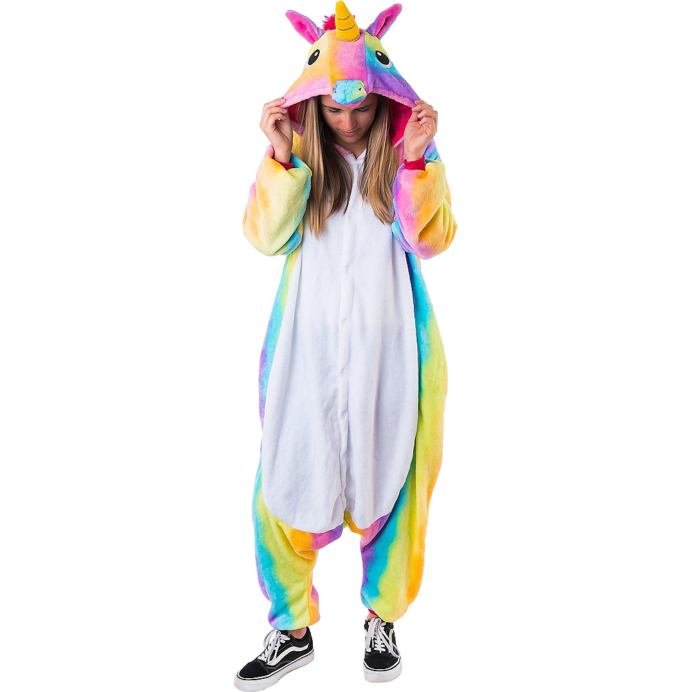Adult Zipster Rainbow Unicorn One Piece Costume Image #2