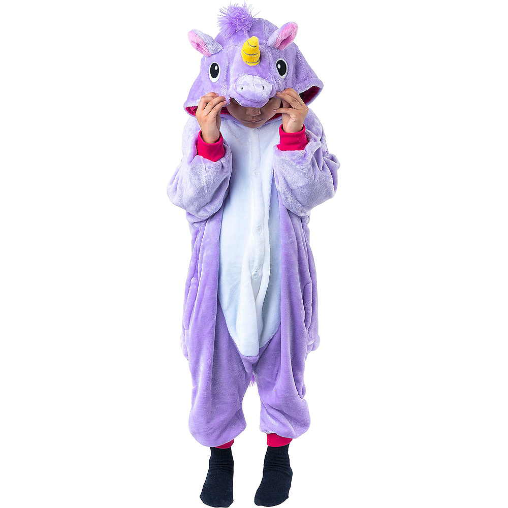 Child Zipster Purple Unicorn One Piece Costume Image #2