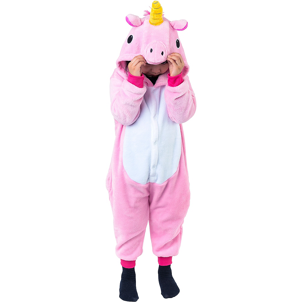 Nav Item for Child Zipster Pink Unicorn One Piece Costume Image #3