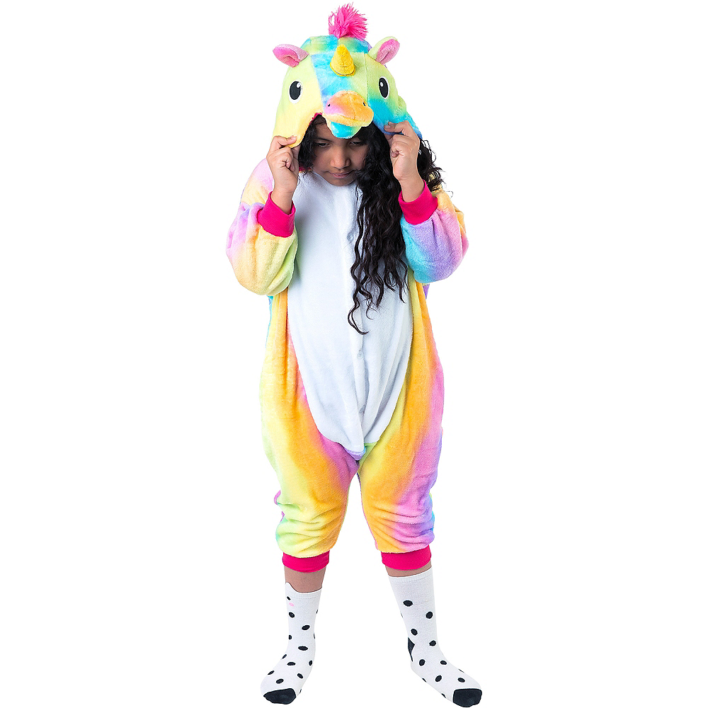 Child Zipster Rainbow Unicorn One Piece Costume Image #4
