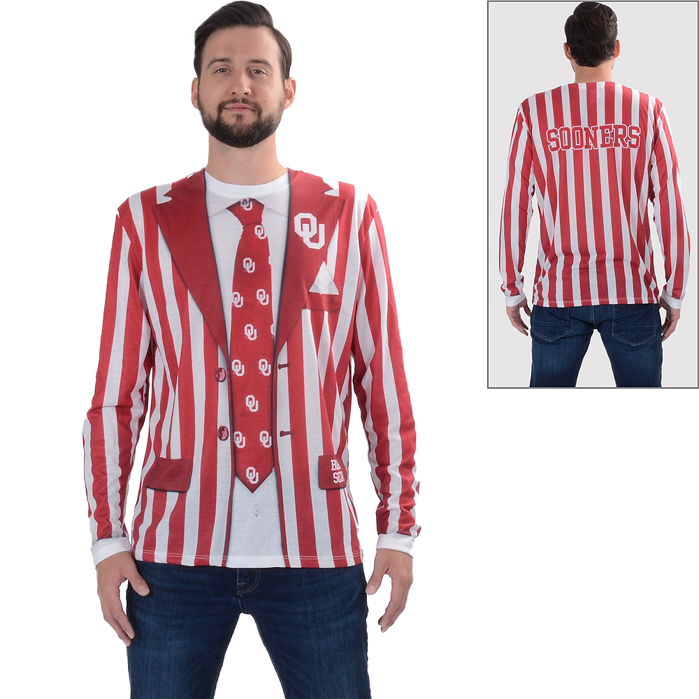 Mens Oklahoma Sooners Striped Suit Long-Sleeve Shirt Image #1