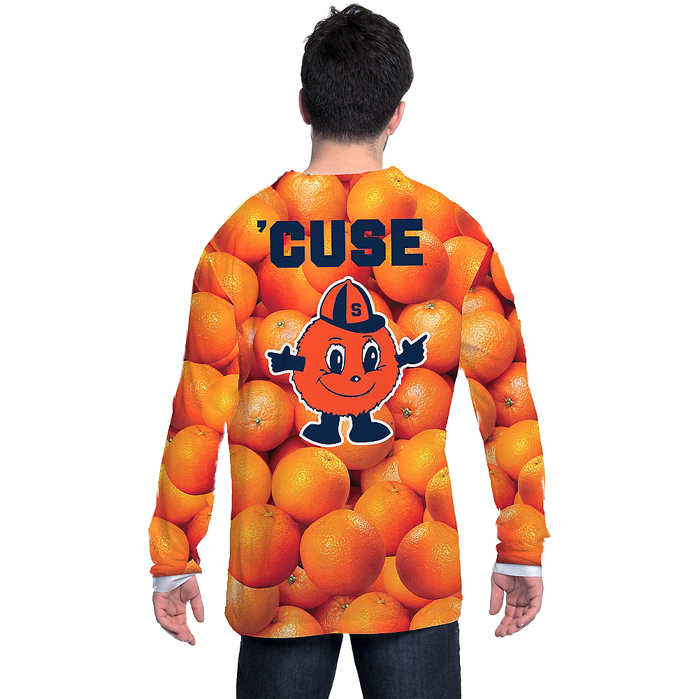 Mens Syracuse Orange Texture Suit Long-Sleeve Shirt Image #2
