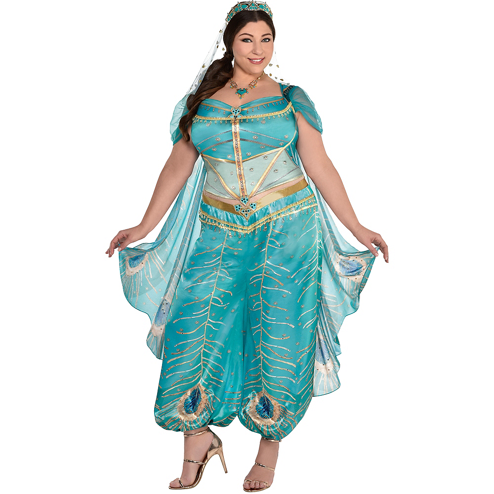 Nav Item for Adult Jasmine Whole New World Costume Plus Size - Aladdin Live-Action Image #1