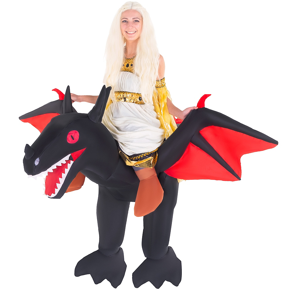 Adult Inflatable Black Dragon Ride-On Costume Image #1