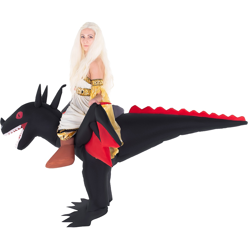 Nav Item for Adult Inflatable Black Dragon Ride-On Costume Image #2