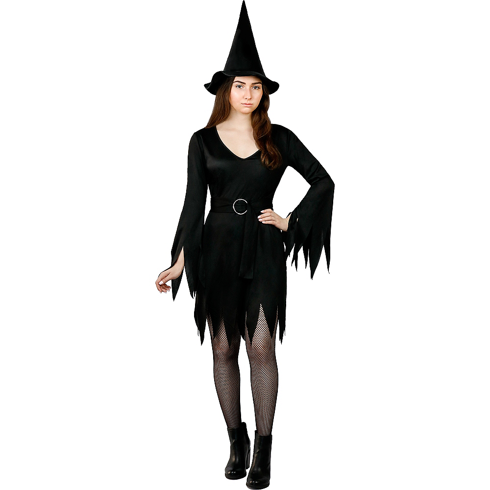 Adult Black Belted Witch Dress Image #1