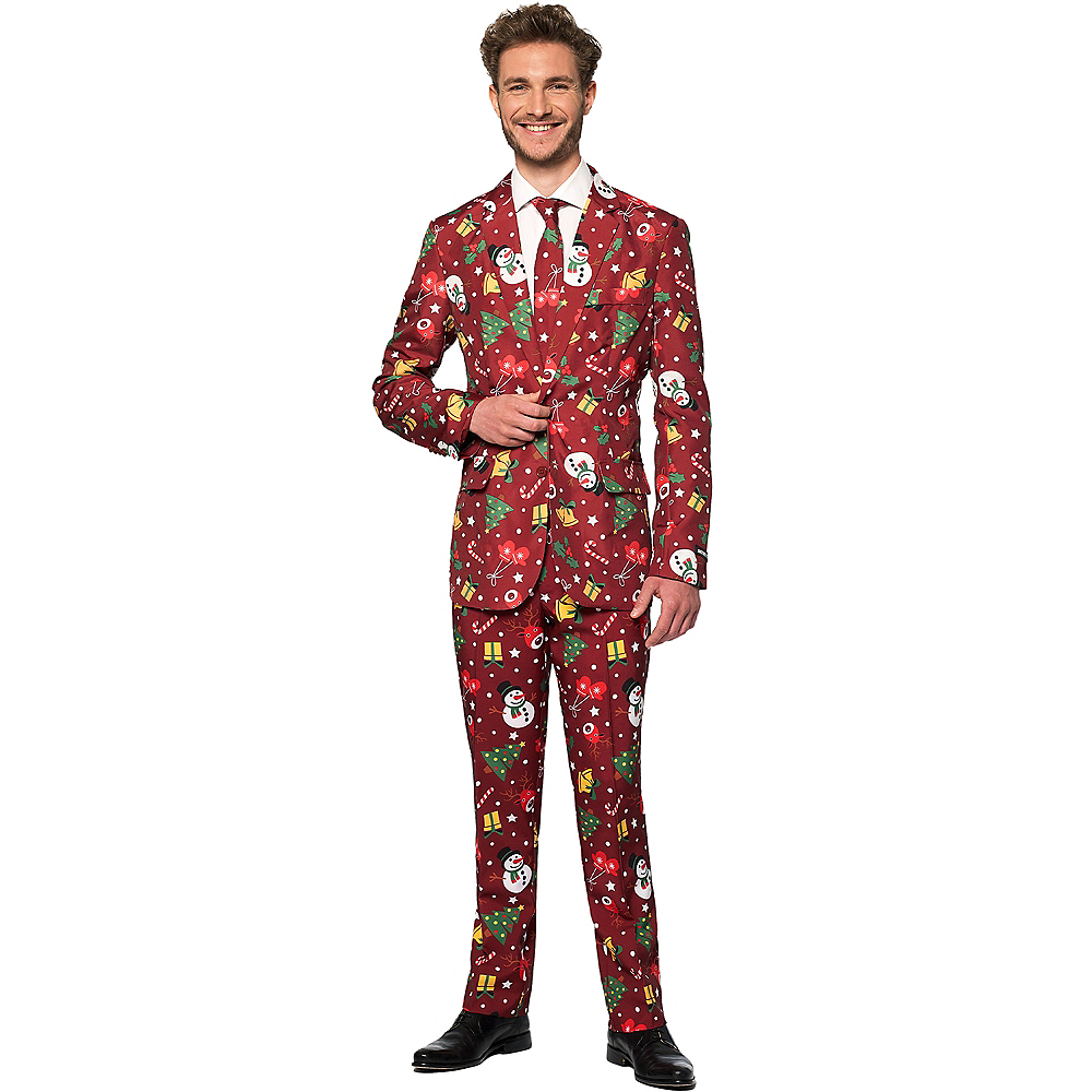 Adult Light-Up Red Christmas Suit Image #1