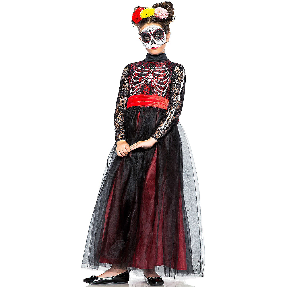 Child Lacy Day of the Dead Costume Image #1