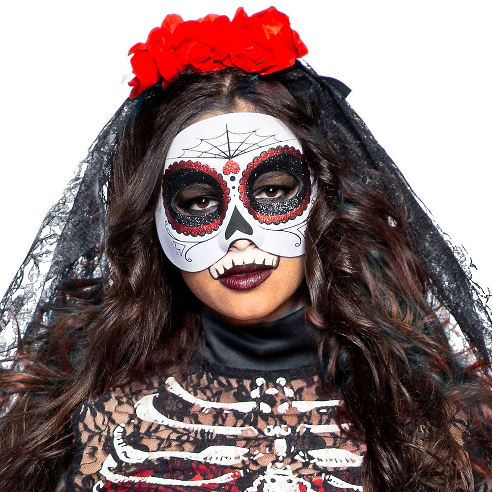 Adult Lacy Day of the Dead Costume Image #3