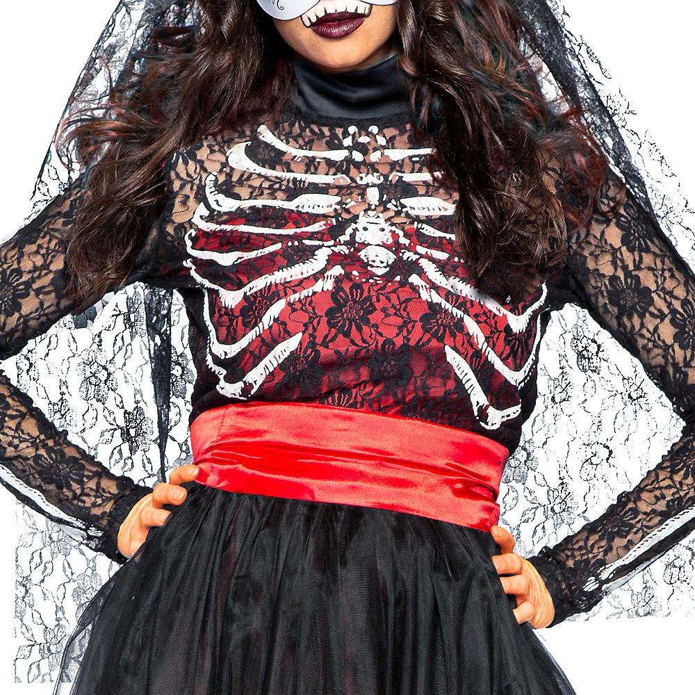 Adult Lacy Day of the Dead Costume Image #4