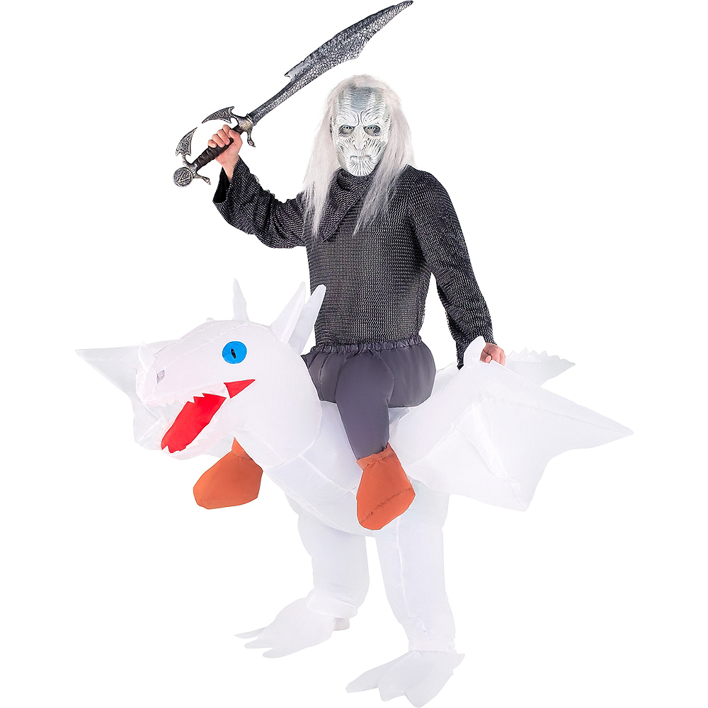 Adult Inflatable White Dragon Ride-On Costume Image #1