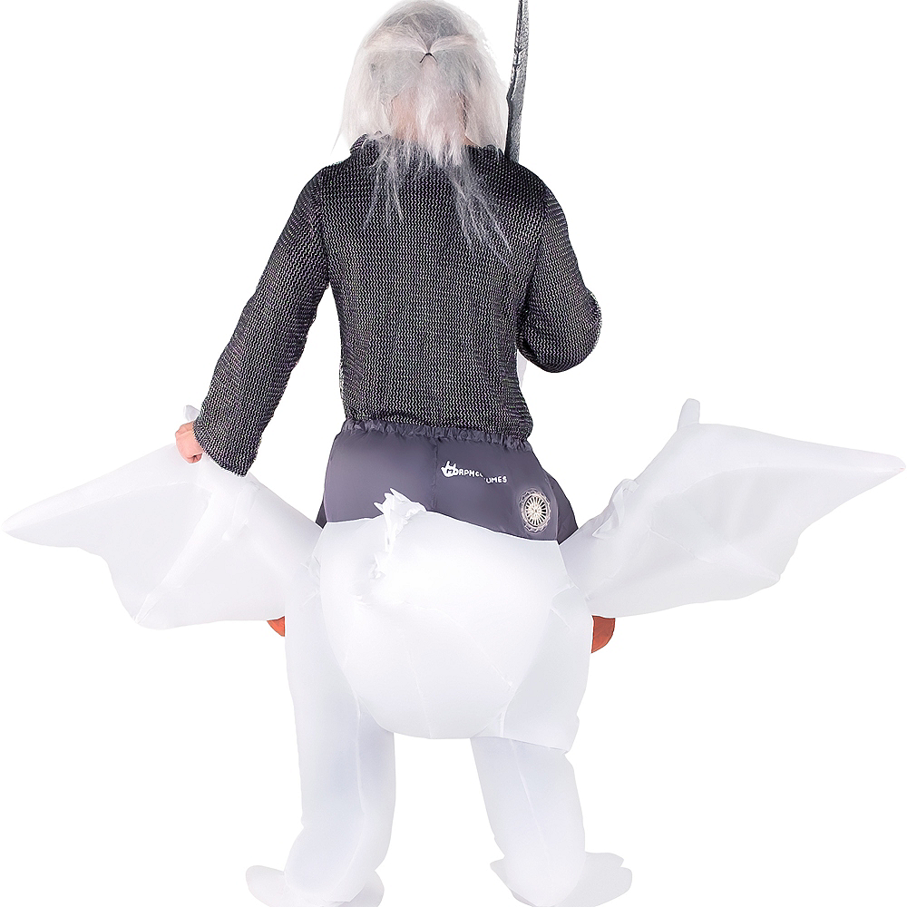 Adult Inflatable White Dragon Ride-On Costume Image #2
