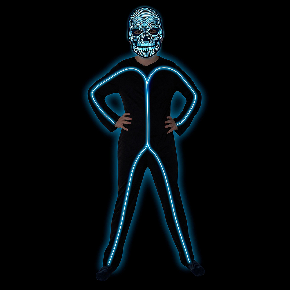 Child Light-Up Blue Stick Man Costume Image #2