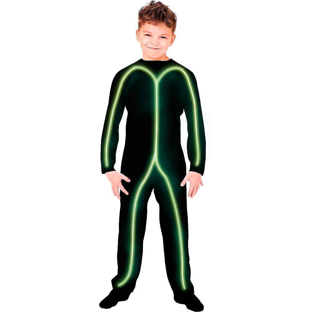 Child Light-Up Green Stick Man Costume Image #1