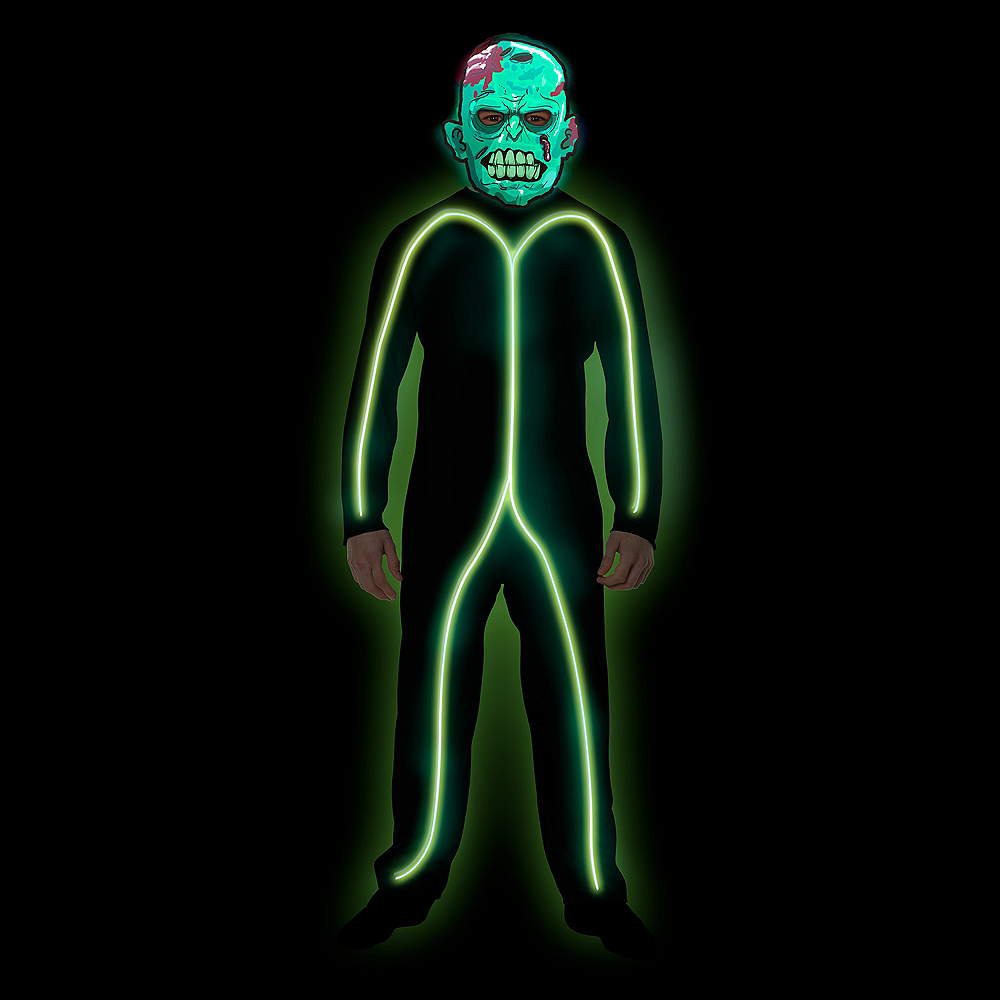 Child Light-Up Green Stick Man Costume Image #2