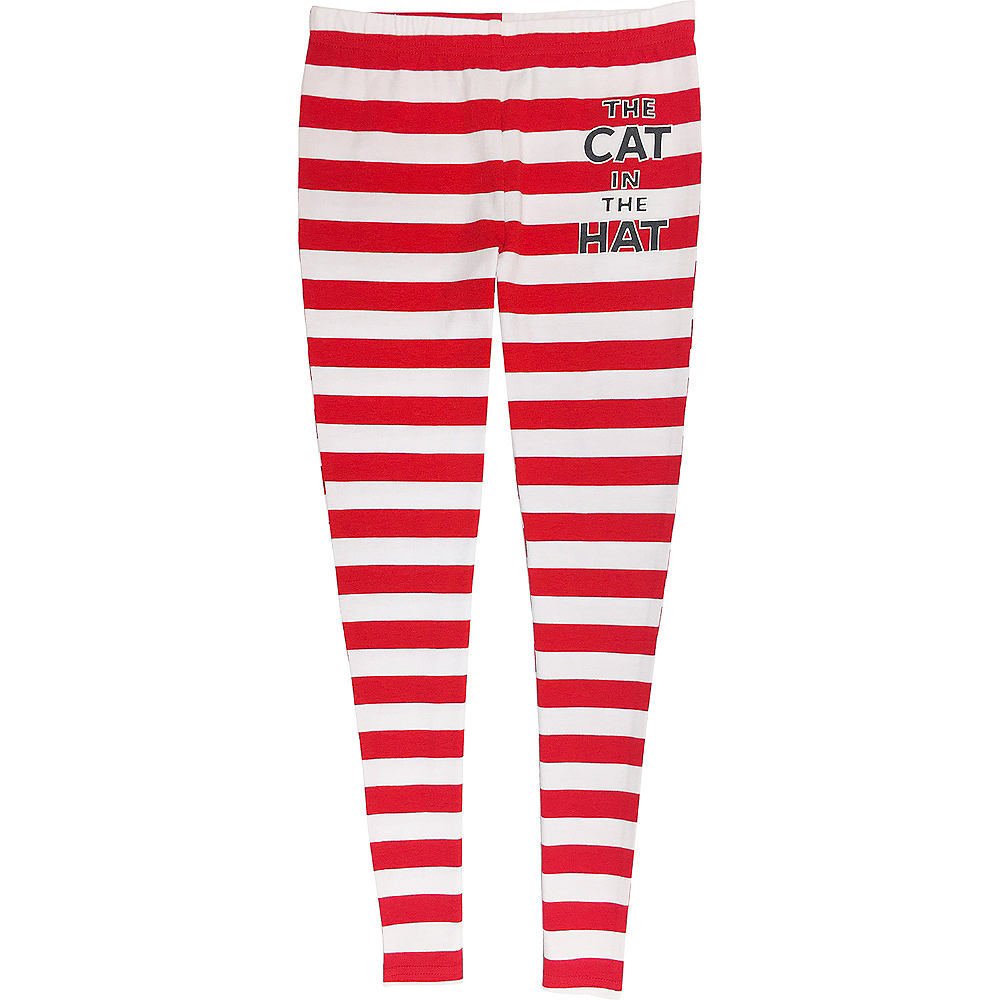 Child Striped Cat in The Hat Leggings - Dr. Seuss Image #1