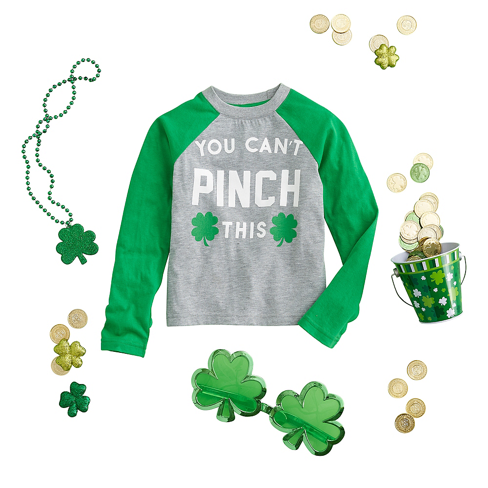 Child You Can't Pinch This St. Patrick's Day Long-Sleeve Raglan Shirt Image #1