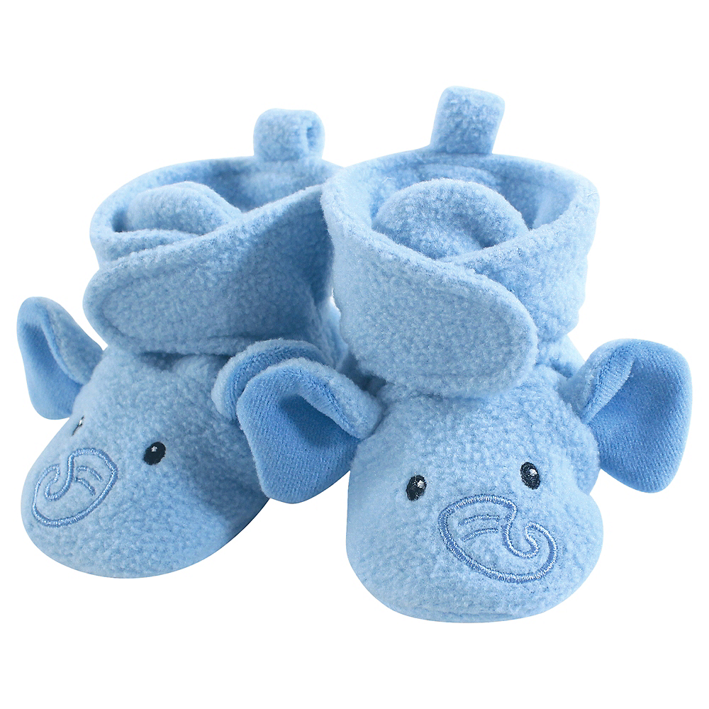 Blue Elephant Hudson Baby Cozy Fleece Booties with Non Skid Bottom Image #1