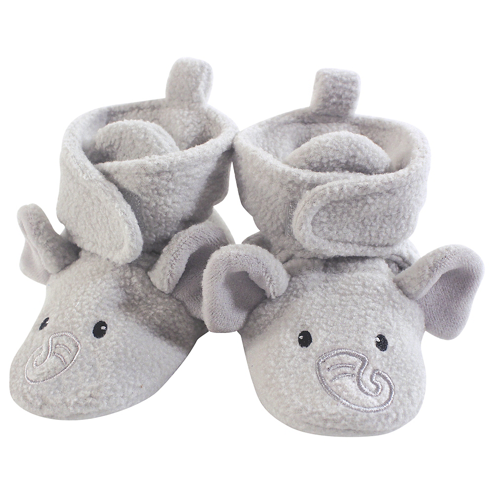 Neutral Elephant Hudson Baby Cozy Fleece Booties with Non Skid Bottom Image #1