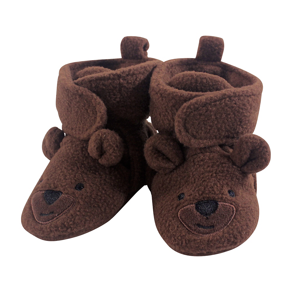 Brown Bear Hudson Baby Cozy Fleece Booties with Non Skid Bottom Image #1