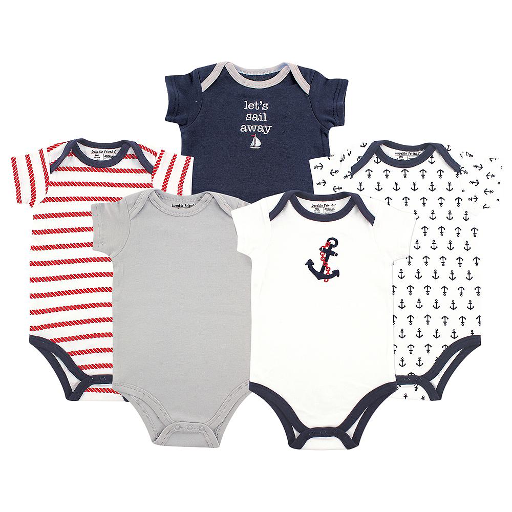 Nautical Luvable Friends Bodysuits, 5-Pack Image #1