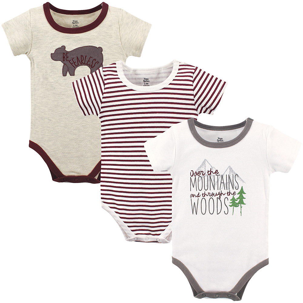 Mountains Yoga Sprout Bodysuits, 3-Pack Image #1