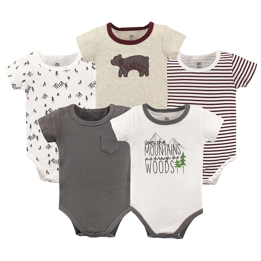 Mountains Yoga Sprout Bodysuits, 5-Pack Image #1