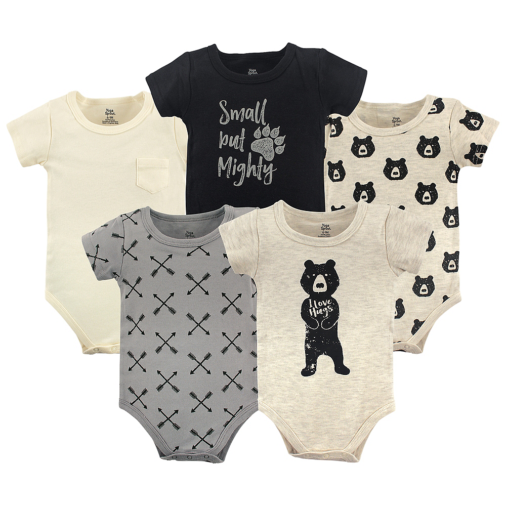 Bear Hugs Yoga Sprout Bodysuits, 5-Pack Image #1