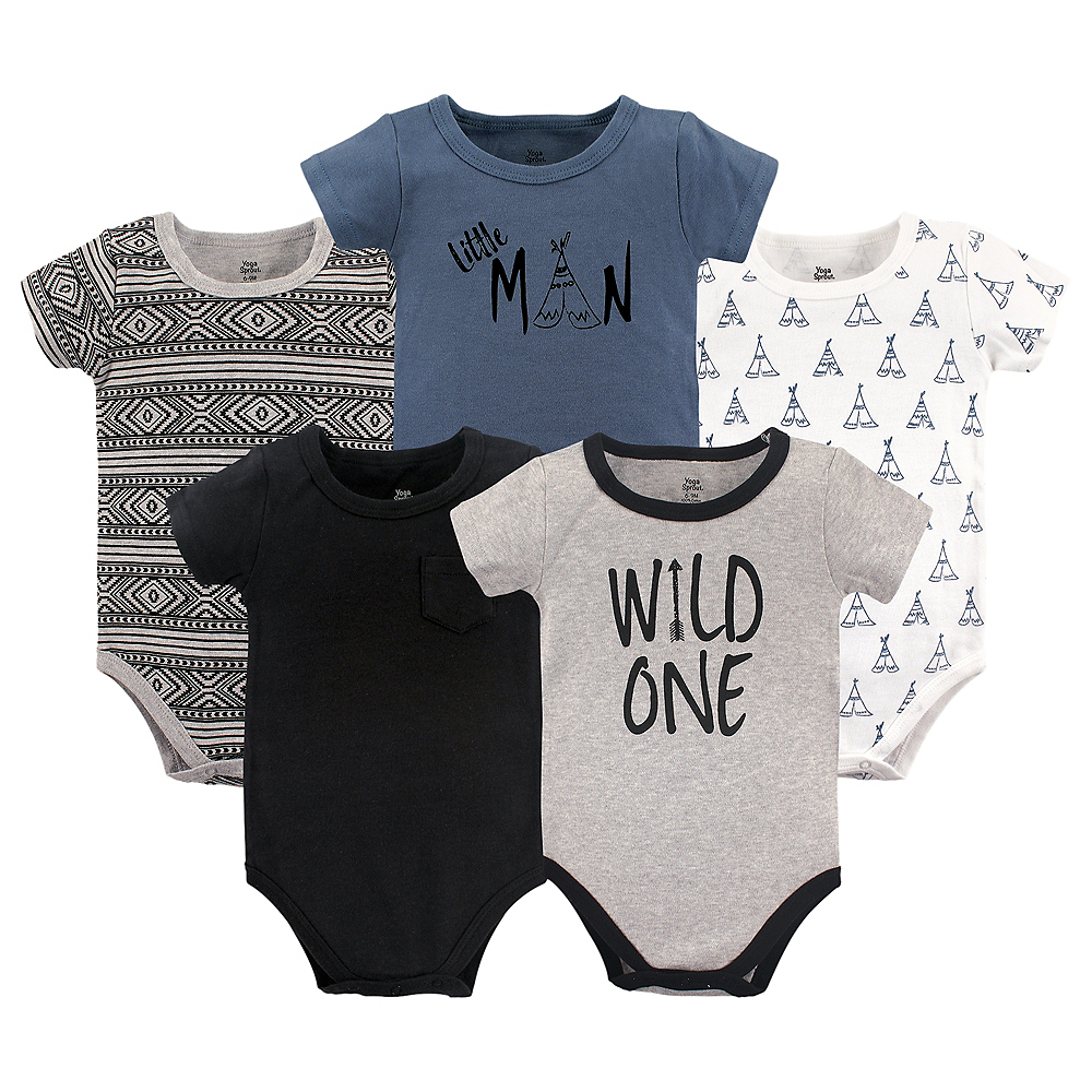 Wild One Yoga Sprout Bodysuits, 5-Pack Image #1