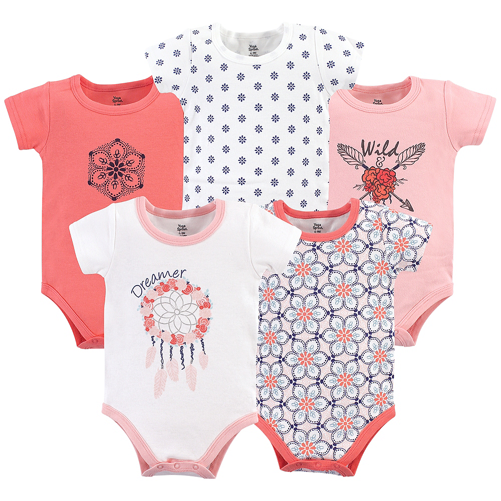 Dream Catcher Yoga Sprout Bodysuits, 5-Pack Image #1