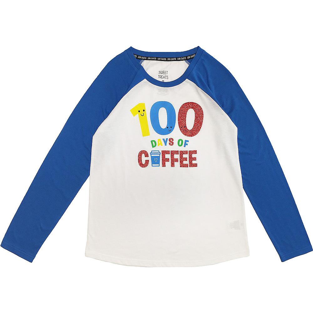 Adult 100 Days of Coffee Long-Sleeve Raglan Shirt - 100 Days of School Image #1