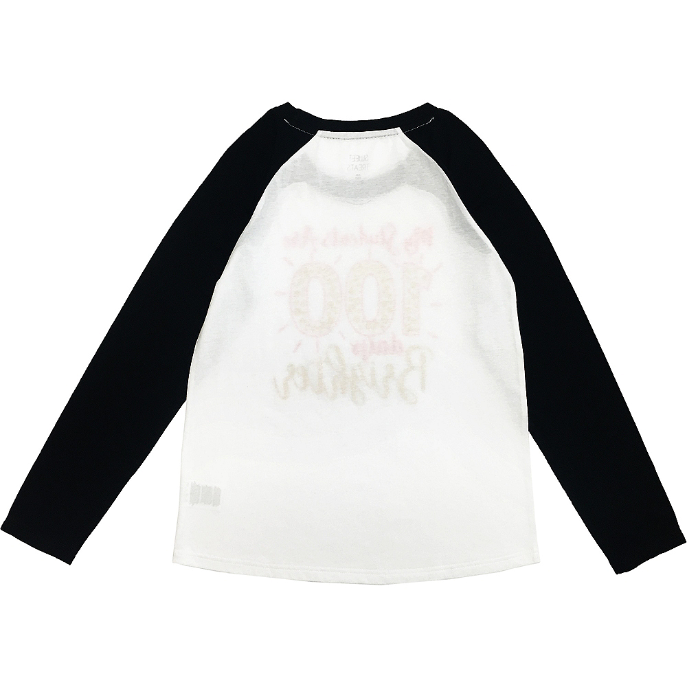 Adult 100 Days Brighter Long-Sleeve Raglan Shirt - 100 Days of School Image #2