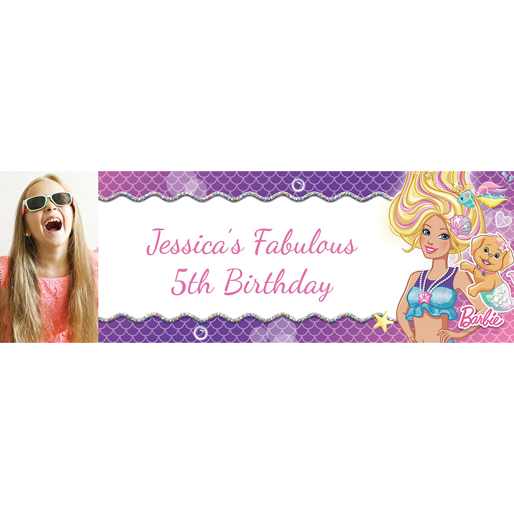 Custom Barbie Mermaid Photo Horizontal Banner Image #1