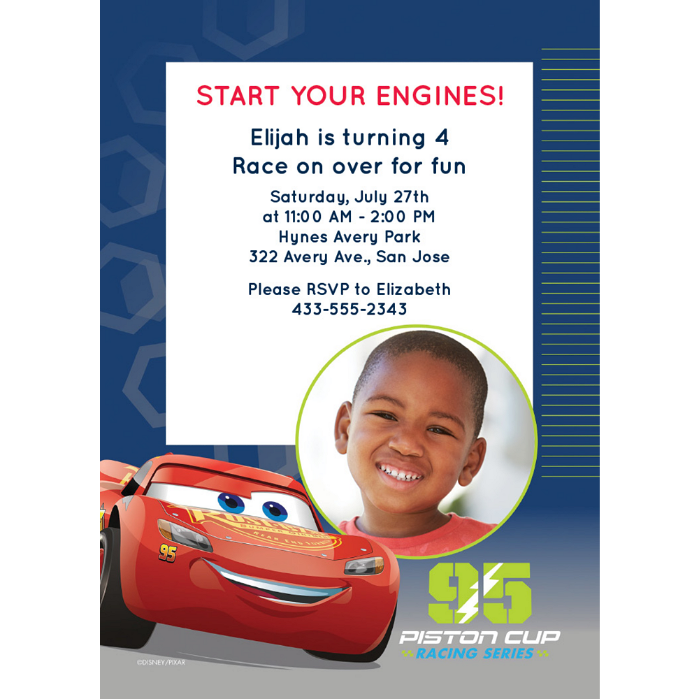 Custom Cars 3 Photo Invitations Image #1