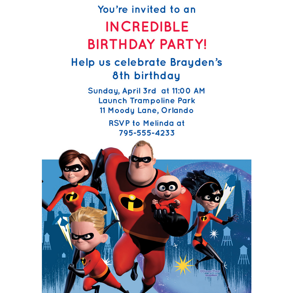Custom Incredibles 2 Invitations Image #1