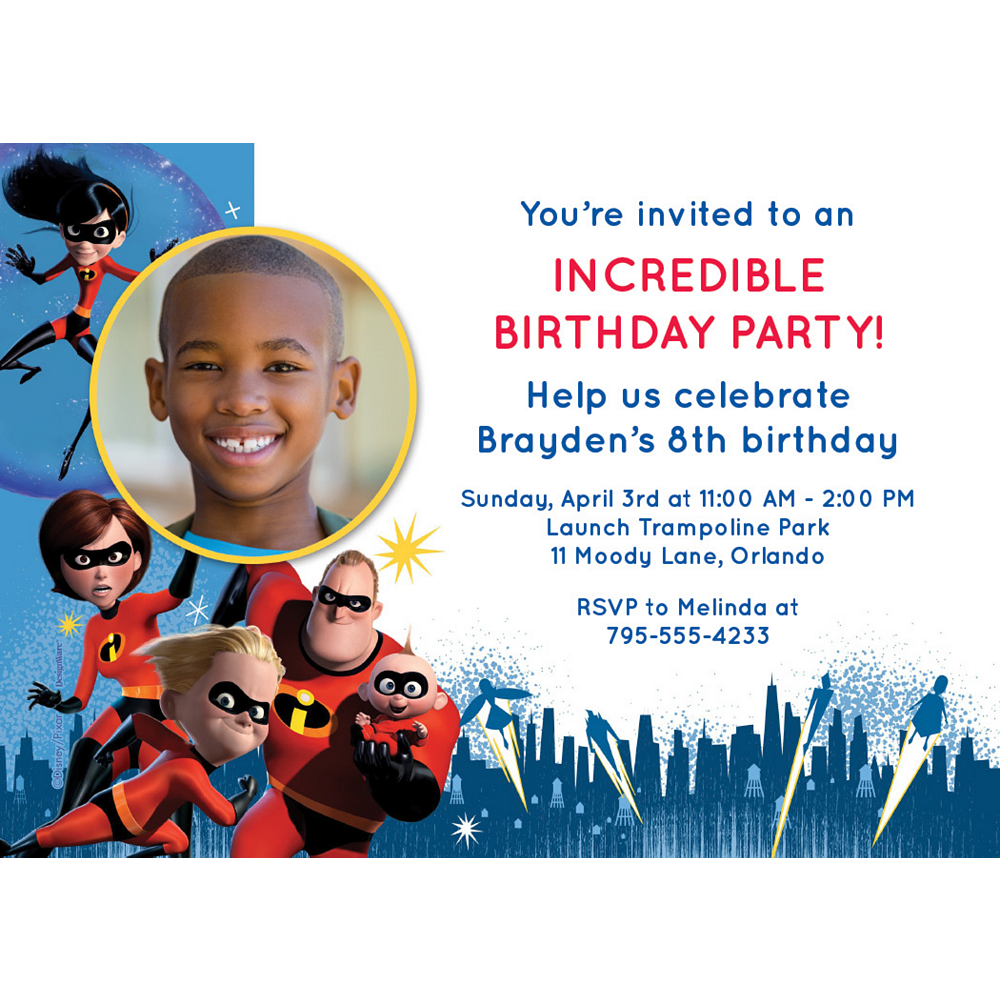 Custom Incredibles 2 Photo Invitations Image #1