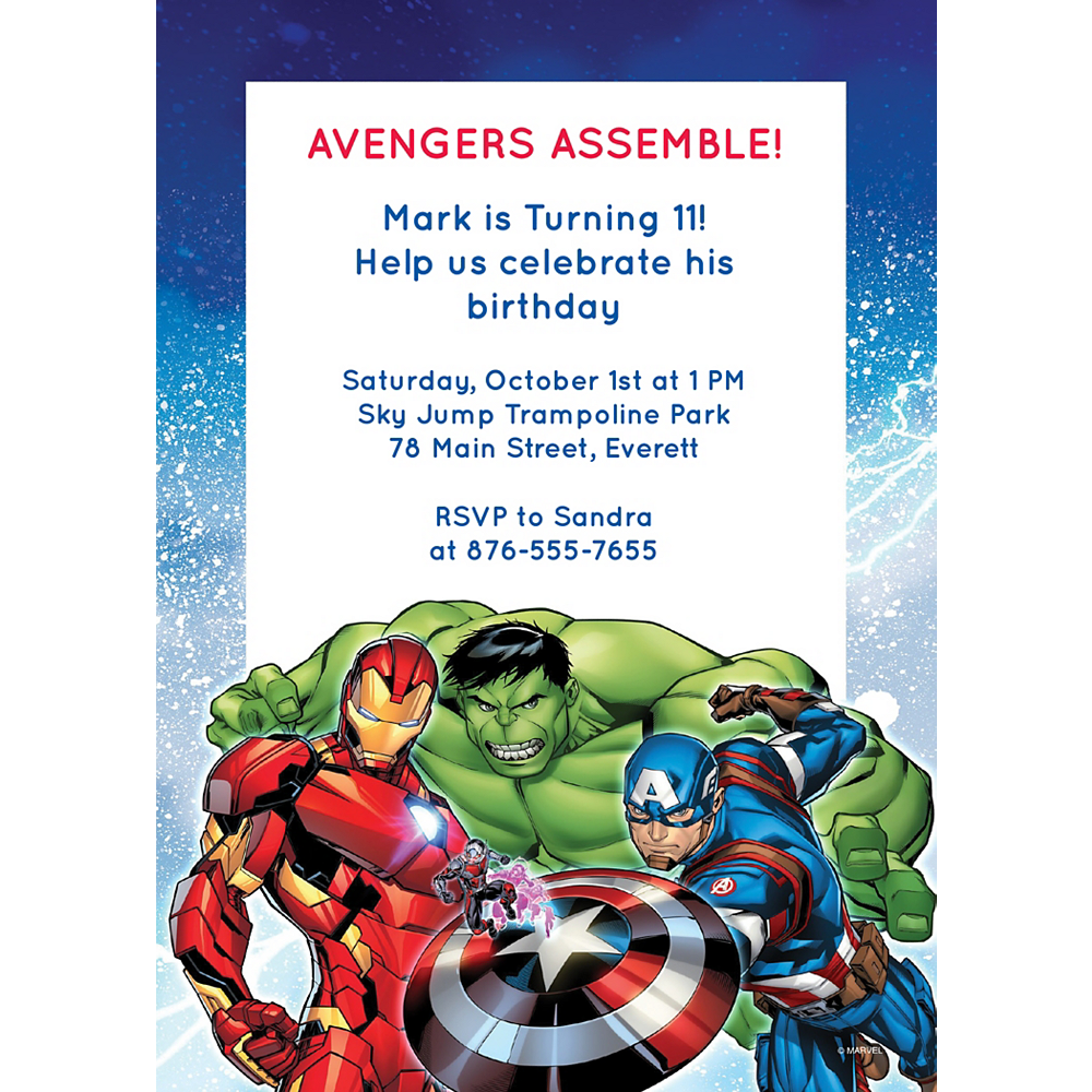 Nav Item for Custom Avengers Invitations Image #1