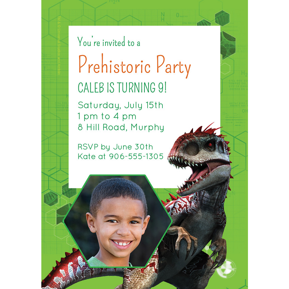 Custom Jurassic World Photo Invitations Image #1
