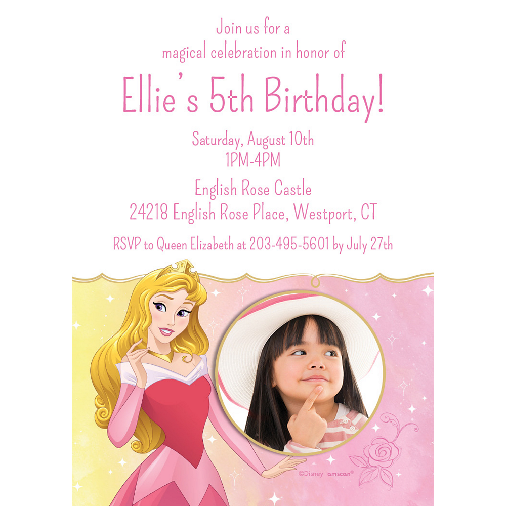 Custom Sleeping Beauty Aurora Once Upon a Time Photo Invitations Image #1